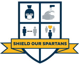 Shield our Spartans graphic reversed